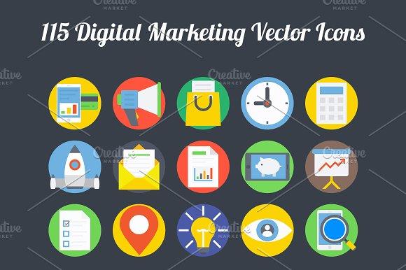 100 digital marketing vector icons pre designed illustrator graphics creative market 100 digital marketing vector icons