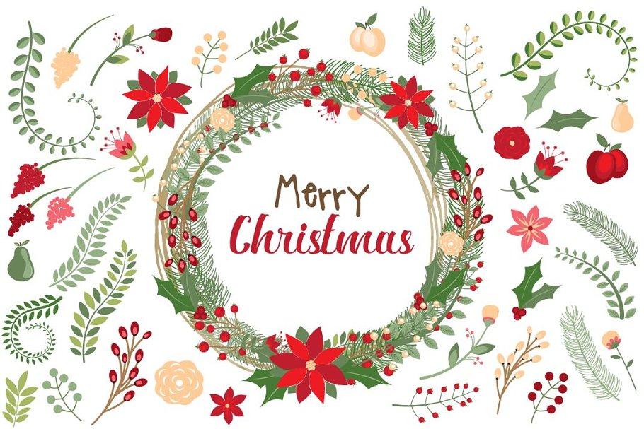 Christmas Graphics Vector.Botanical Christmas Vector Clipart Illustrations