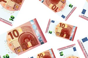 10 euro banknotes on white