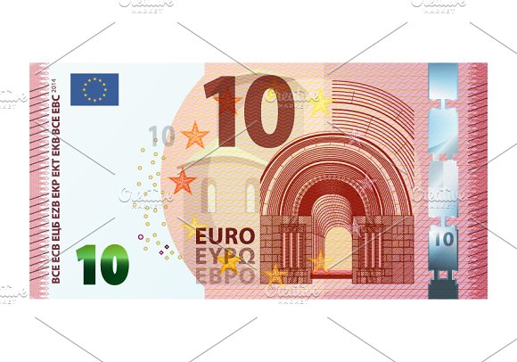 Ten euro banknote 2014 on white