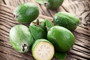 Feijoa fruits on old wood