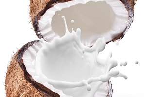 Coconut with milk splash inside