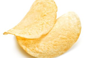 Potato chips isolated white