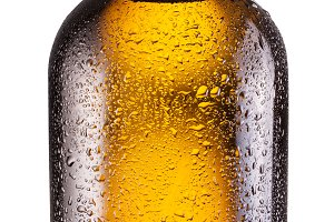 Bottle of beer isolated on a white background. Clipping path.