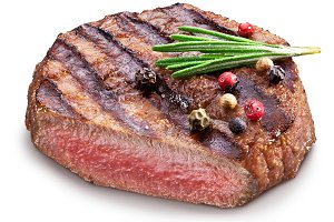 Beef steak with spices.