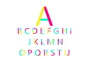 Font pink, yellow and neon vector