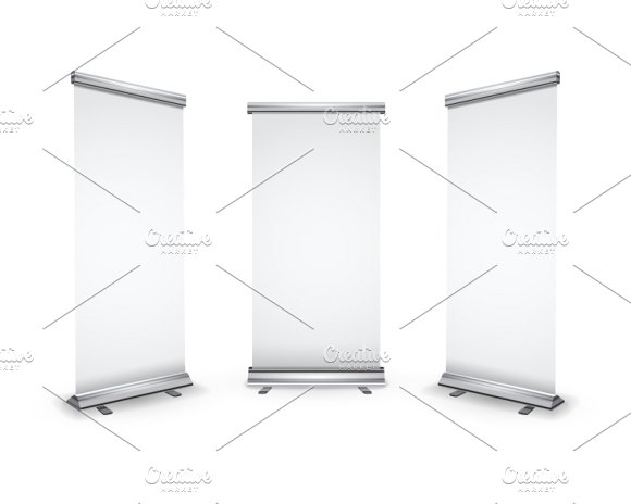 Three blank roll-up banners on white