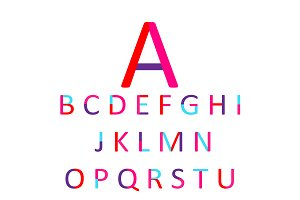 Flat font neon pink color vector