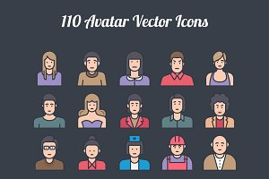 100 Avatar Colored Line Vector Icons