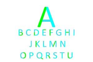 Flat font design, neon color vector