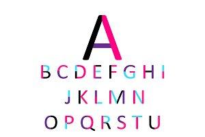 Flat font design, pink color neon
