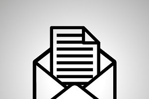 Simple black icon of open envelope