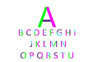 Neon green and pink font, flat