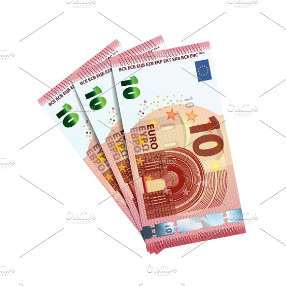 Thirty euro in bundle of banknotes