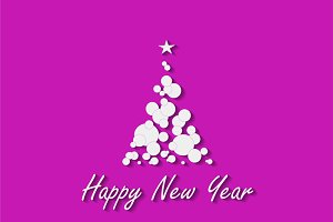 Happy New Year tree pink color
