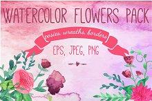 Watercolor flowers pack