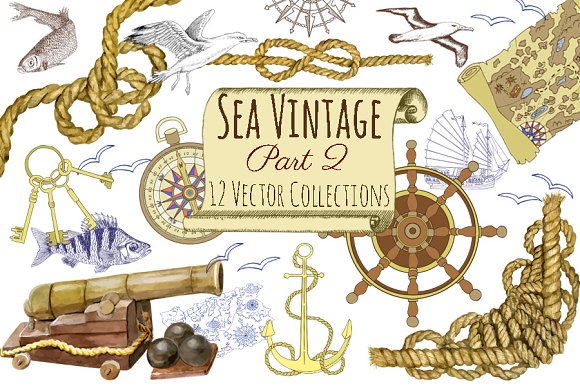 Sea Vintage Elements in Objects