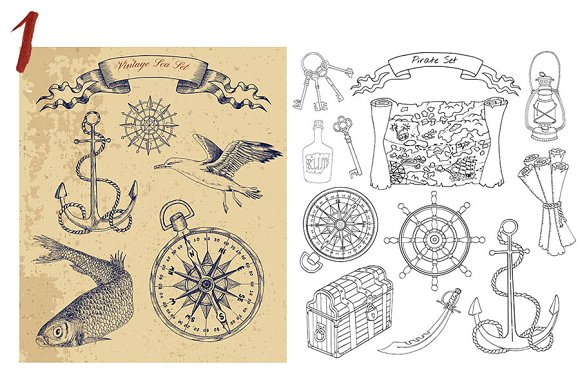 Sea Vintage Elements in Objects - product preview 1