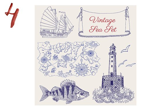 Sea Vintage Elements in Objects - product preview 4