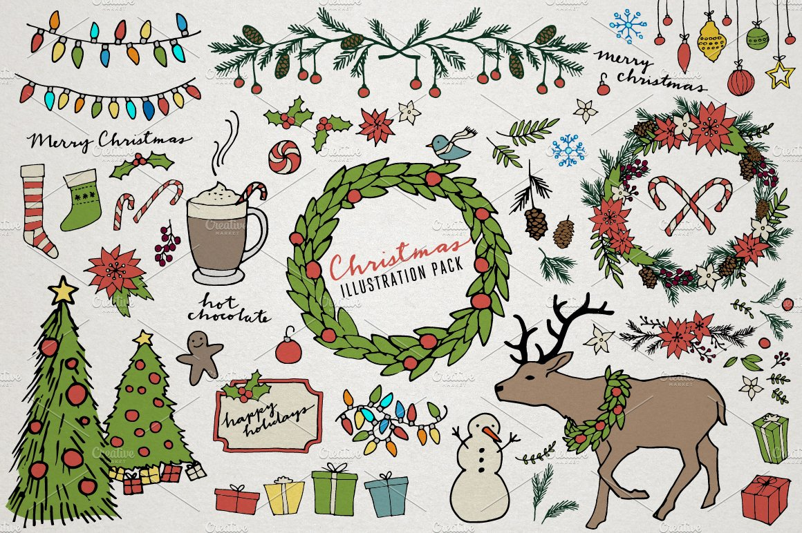 Christmas holiday illustrations illustrations for Cute christmas tree drawing