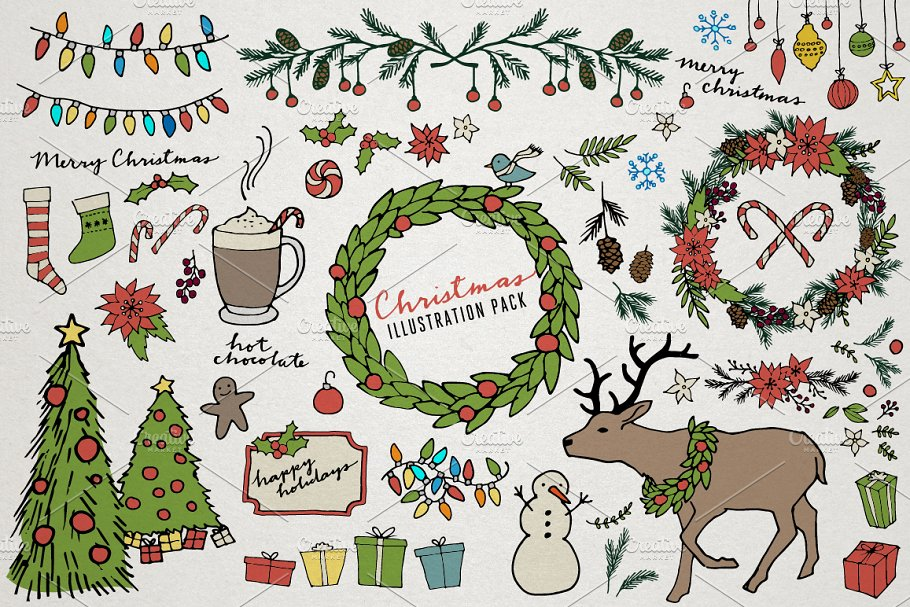 Christmas Illustrations.Christmas Holiday Illustrations