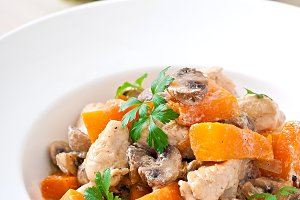 Stew chicken with vegetables