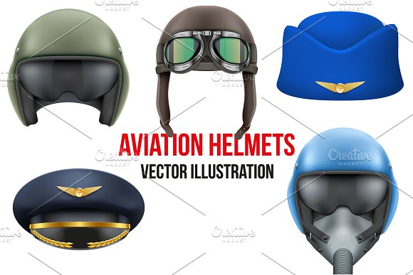 Set Of Aviator Helmets And Hats
