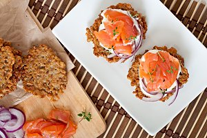 Buckwheat pancakes with salmon