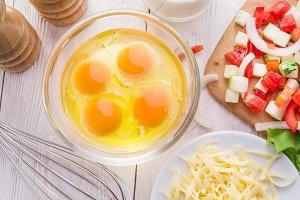 eggs, fresh cut vegetables