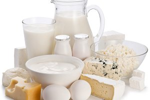 Dairy products on a white