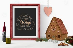 Gingerbread house & frame mockup