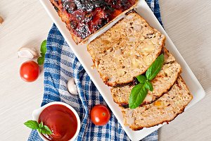 Homemade meatloaf with ketchup