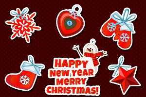 Vector set of Christmas sticker