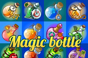 Set of cartoon bottles