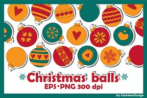 Christmas balls, Ornament, Doodles