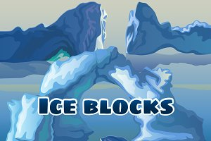 Ice block, water and dragon