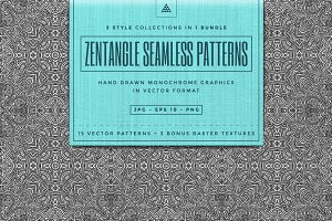 Zentangle seamless vector patterns