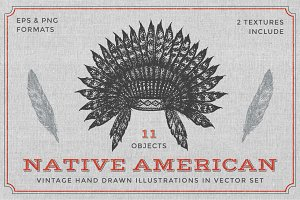 Native American illustrations set