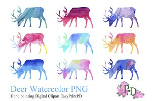 Deer Watercolor, Digital ClipArt PNG