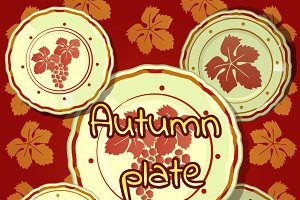 Set of autumn plates with leaves