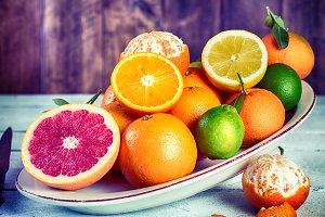 Assorted acid fruits
