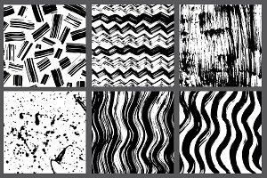 6 hand-drawn ink texture set.