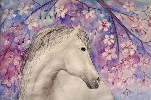 Watercolour horse and cherry blossom