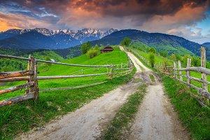 Stunning alpine rural landscape
