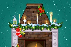Christmas fireplace with decoration