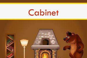 Classic cabinet in cartoon style