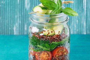 Salad with quinoa in jar
