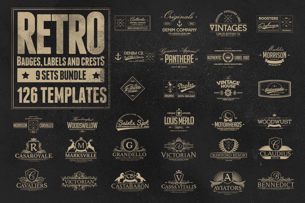 126 Retro Badges Labels Amp Crests Logo Templates