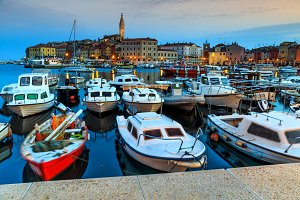 Magical dawn with Rovinj harbor