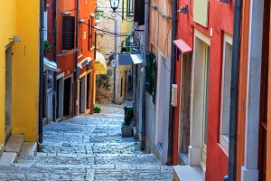 Medieval old street in Rovinj